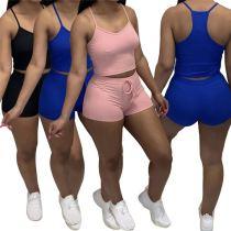 MOEN Best Quality Suspender Stretchy Conjunto de dos piezas para mujer Two Piece Short Set 2 Piece 2021 Sets Womens Clothing