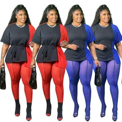 MOEN Best Quality Contrast Color Conjunto de ropa mujer Women Plus Size Clothes 2 Piece Set Outfits Womens Two Piece Set