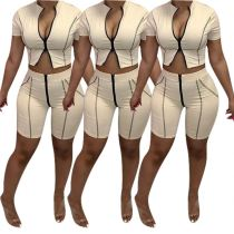 MOEN New Arrival Zipper Conjuntos de verano para mujer 2 Piece Set Women Clothing Two Piece Pants Set Fashion women clothing