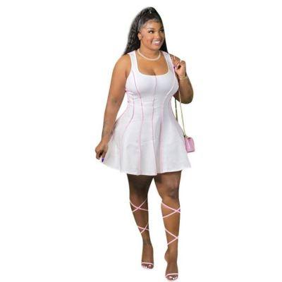 MOEN Cheap Price Sleeveless New Plus Size Kleid Woman Girls Fashion Clothing Plus Size Dress Women Sexy Dresses