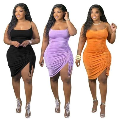 Hot Onsale MOEN Suspender Drawstring Vestido Plus Size Woman Clothing Casual Dress Women 2021 Dresses
