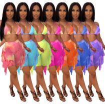 MOEN Best Quality Tie Dye Ruffle Pakaian wanita Swimwear Sexy Bikini Women Swimsuit Women 2 Piece Set