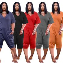 MOEN High Quality Solid Color Loose Wear Bayan giyim Women One Piece Jumpsuits And Rompers Women Jumpsuit