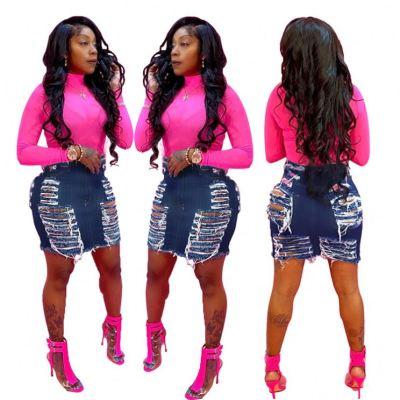 MOEN Good Style Ripped Casual Wear Garment Women Clothing Skirt Women Sexy Denim Skirt