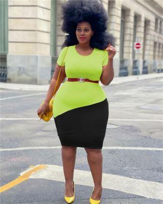 MOEN Best Quality Short Sleeves Elegant Vestido Woman Plus Size Dress Women Clothing Dresses