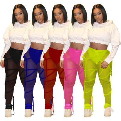 MOEN New Trendy Bandage Mesh Popular Pakaian wanita Lady Long Pants Womens Trousers Womens Trousers