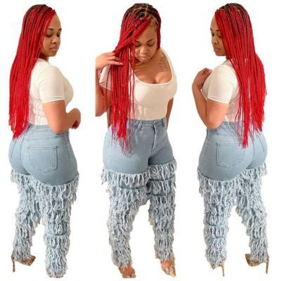 MOEN Newest Design Tassels Fashionable Lady Pantalones dama Woman Jeans 2021 Women Denim Long Pants