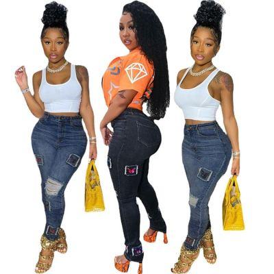 MOEN Best Seller Hole Tight Pencil Pants Popular Pantalones jeans Woman Jeans 2021 Women Denim Pants