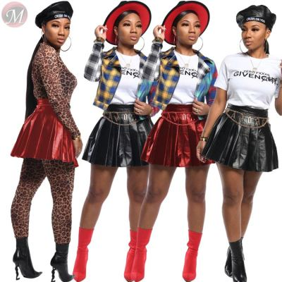 9102206 hot onsale autumn pu leather pleated Ladies Clothing Woman Fashion Mini Skirt