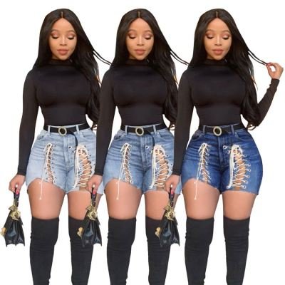 Best Design MOEN Lacing New Lady Clothes Pantalones para mujer Woman Jeans 2021 Women Denim Shorts Pants