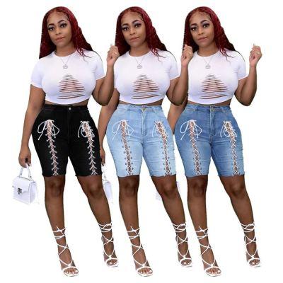 1040119 High Quality 2021 Summer Fashion Streetwear Ladies Ripped Jeans Plus Size Women Denim Pants