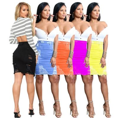 1040120 Hot Onsale 2021 Summer Fashion Women Clothes Ripped Jean Skirt