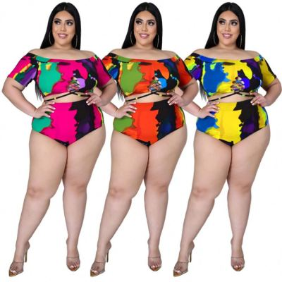 1040103 2021 Plus Size Women Fashion Clothes Bandage Print Sexy Beachwer Swimming suit For Women