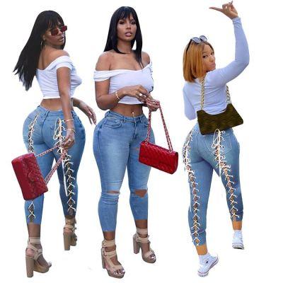 1040118 High Quality 2021 Summer Fashion Streetwear Ladies Ripped Jeans Plus Size Women Denim Pants