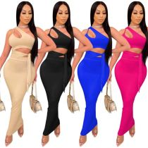 1033118 Hot Selling Women Clothes 2021 Casual Outfits Women Two Piece Skirt Set