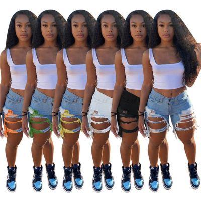 1040610 Newest Design Women Clothes 2021 Summer Ripped Jeans Women Denim Pants