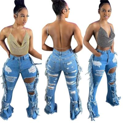 1040613 Newest Design Women Clothes 2021 Summer Ripped Jeans Women Denim Pants