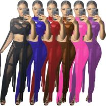 MOEN New Style wanita set Sexy Fashion Summer New Arrival 2021 Short Sleeves Long Pants Crop Top Two Piece Set