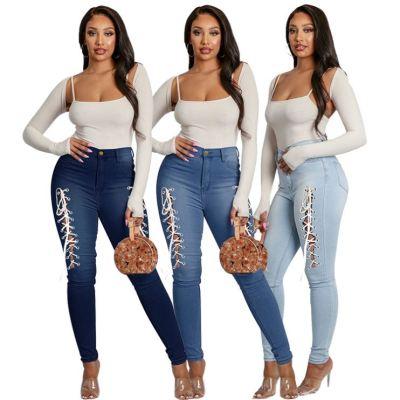 1041322 Good Quality Women Fashion Clothing Ladies High Waist Bandage Jeans Women Denim Pants