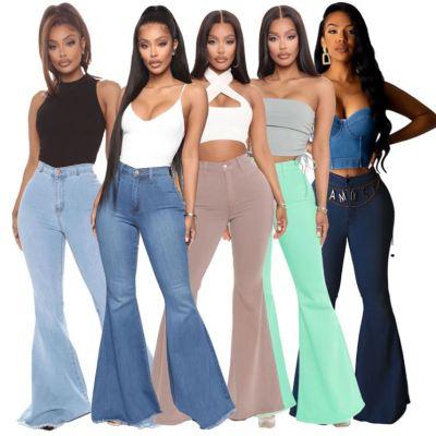 1041906 Good Quality Women Fashion Clothing Ladies High Waist Bandage Jeans Women Denim Pants