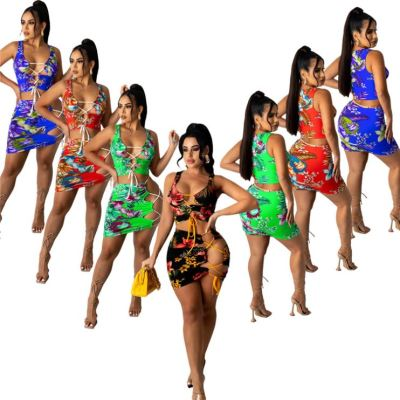 1041901 Best Seller Women Clothes 2021 Summer Outfit Two Piece Skirt Set