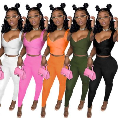 1042117 Hot Onsale Women Clothes 2021 Summer Outfits Fashion Two Piece Set Women Clothing
