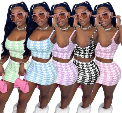 1042107 Best Seller Women Clothes 2021 Summer Outfits Two Piece Skirt Set