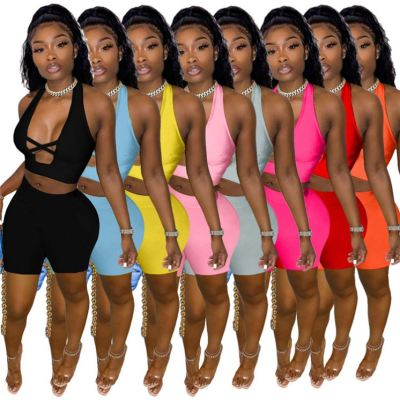1042114 Hot Onsale Women Clothes 2021 Summer Outfits Fashion Two Piece Set Women Clothing