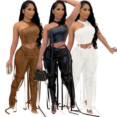 Stylish Sleeveless Cool Lady PU Outfits New Two Piece Set 2021 Women Clothing 2 Piece Pants Set
