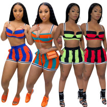 0060234 2020 Summer Sexy Short Crop Tank Top Fashion Casual Sports Suit Striped Tracksuit Outfits Two Piece Shorts Set