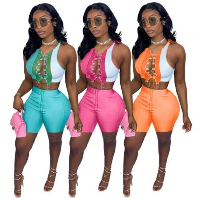1042906 Wholesale Fashion Women Clothes 2021 Summer Outfits Two Piece Set Women Clothing