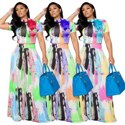 MOEN New Arrival 2021 Short Sleeve Tshirt Long Skirt Sets Matching Women Graffiti  Print Summer Casual Two Piece Dresses