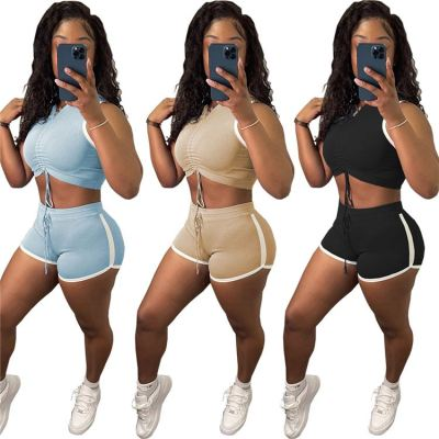 MOEN Fashionable Drawstring Pleated Crop Top Sports Short 2 Piece Women Solid Casual Summer Two Piece Clothing Sets