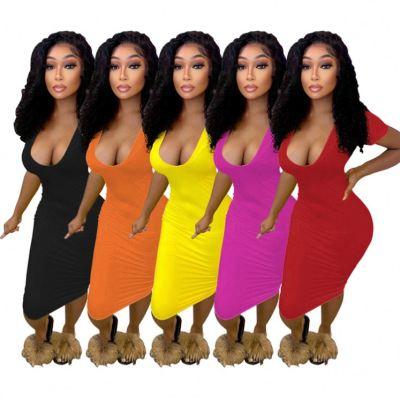 MOEN Hot Selling Deep V Neck Short Sleeve Ladies Dress Summer Casual Pure Color Long Midi Plain Elegant Dresses 2021