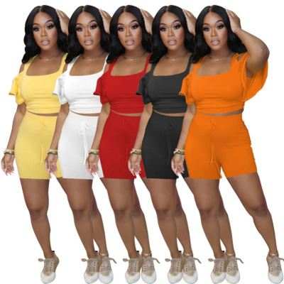MOEN Pure Color Hollow Out Drop Sleeve Women Clothing 2 Piece Pant Sets Ruffle Crop Top And Shorts Two Piece Set