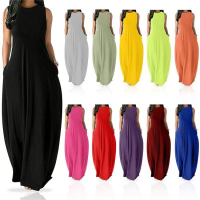 MOEN Hot Selling 2021 Round Neck Sleeveless Casual Pockets Dress Pure Color Summer Sun Maxi Loose Fashion Women Dresses
