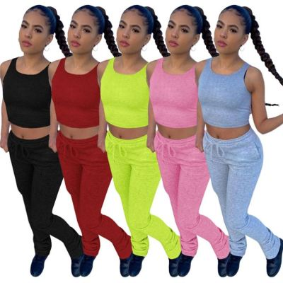Moen Summer Casual Jogger Pants Stacked Solid Crop Top Women Clothing Two Piece Pants Set For Women Pant Set