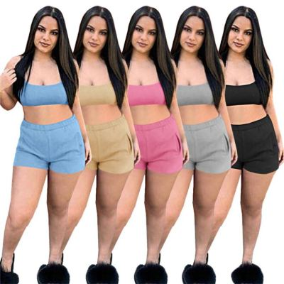 MOEN Pure Color Backless Tank Top Shorts 2 Piece Women Clothing Summer Ladies Fashion 2021 Two Shorts Set For Women Sets