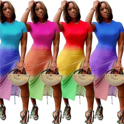 MOEN Fashion 2021 Summer Short Sleeve Gradient Color Print Dress Women Slit Drawstring Midi Sun Dresses For Ladies