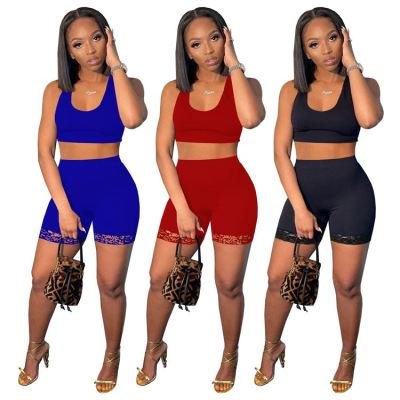 MOEN Women Clothes 2021 Crop Top Short Pant Lace Up Two Piece Summer Casual Sport Tracksuit 2 Pc Shorts Sets