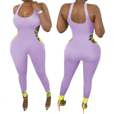 MOEN Sleeveless Side Open Bandage Long Pant One Piece Jumpsuit Casual Suspended Purple Rompers Womens Jumpsuit