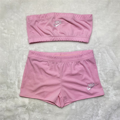Wholesale Clothing Vendors Sexy Solid Color Breast Wrap Embroidery 2 Piece Set Women Two Piece Shorts Set
