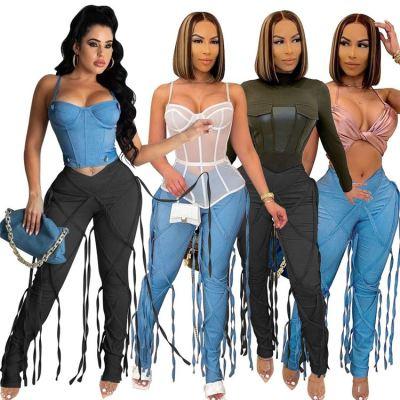 1050613 Good Quality Women Fashion Clothing Ladies High Waist Bandage Jeans Women Denim Pants