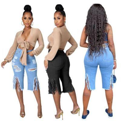 1050620 Good Quality Women Fashion Clothing Ladies High Waist Bandage Jeans Women Denim Pants