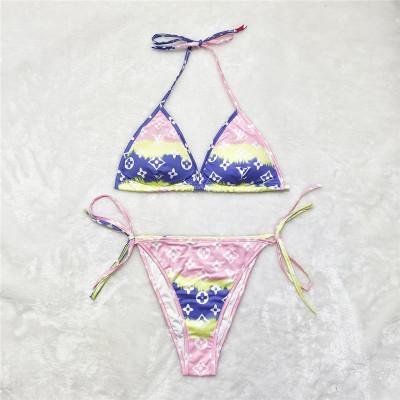 Women Fashion Clothing Summer Sexy Bikini Pattern Print Womens Two Piece Set Swimwear