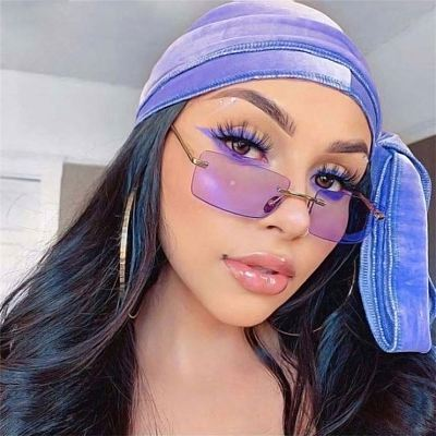 2021 New Style Small Square Rectangle Rimless Sunglasses Sun Glasses Shades Hot Sales