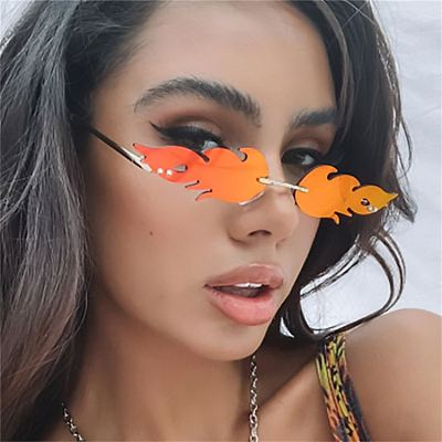 New sunglasses 2021 Personalized Flame sun glasses women Metal Rimless Fashion Spectacles custom sunglasses