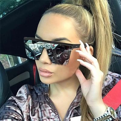 Trendy 2021 Summer Fashion Ladies Big Square Frame Sunglasses Oversized Designer Glasses Sunglasses Women