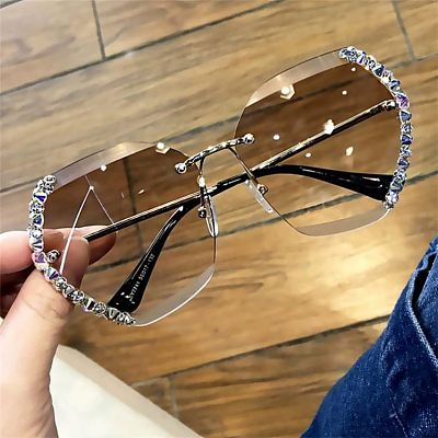Hot Selling Ladies Diamonds Square Sun Glasses Vintage Oversized One Piece Lens Shades Sunglasses 2021 Women