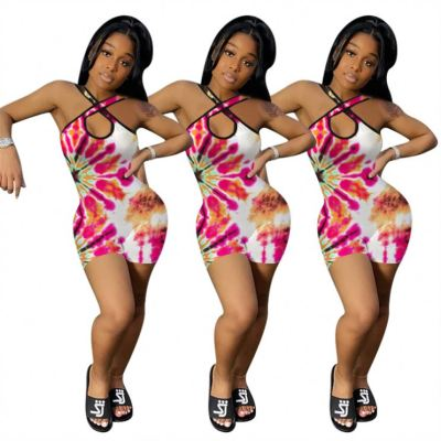 1050853 New Style Bodycon  2022 Womens Tie Dye Sexy Jumpsuits